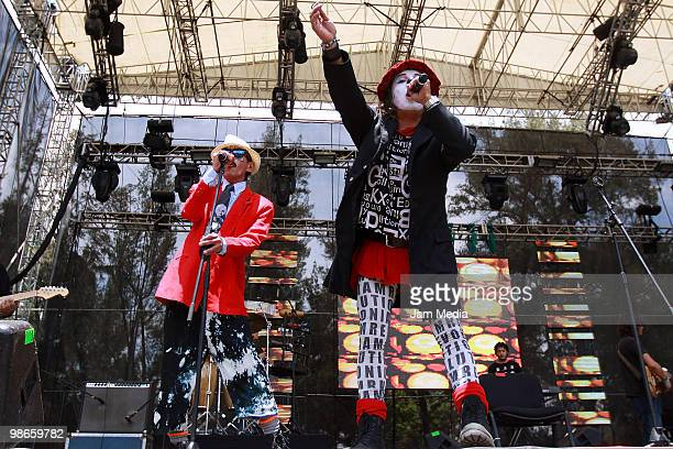 The music group Que Payasos performs onstage during the Vive Latino 2010 Music Festival at Sol Forum on April 24 2010 in Mexico City Mexico Photo by...