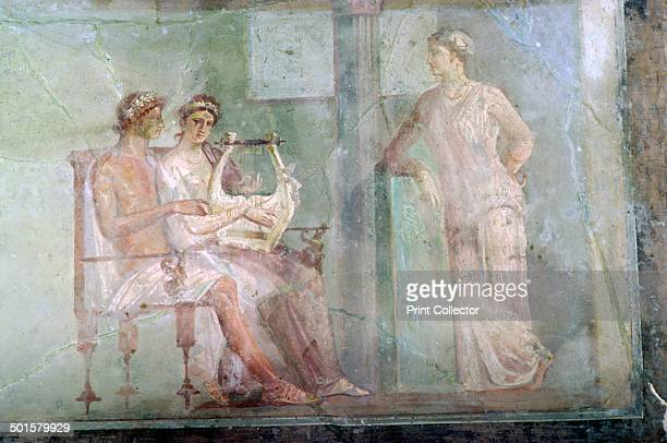 'The Music Lesson' a Roman wallpainting from Herculaneum buried in the eruption of Vesuvius from the British Museum's collection