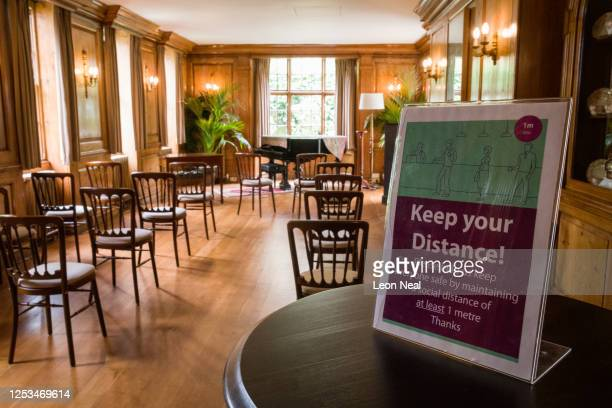 The Music Room of Burgh House is laid out to respect the social distancing guidelines ahead of this weekends resumption of wedding services across...