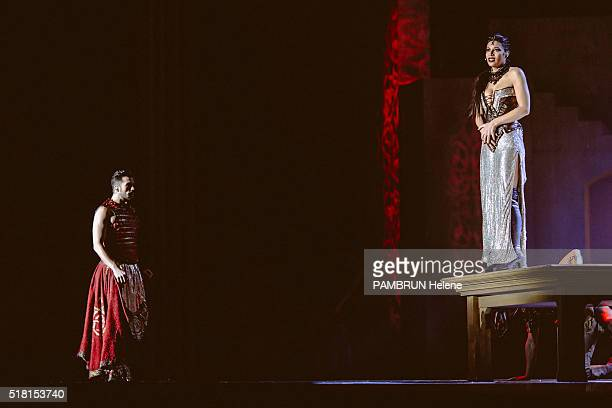 the musical La Legende du Roi Arthur at the Zenith de Dijon the troupe in backstage and on stage on February 27 2016 Zaho fairy Morgane and Florent...