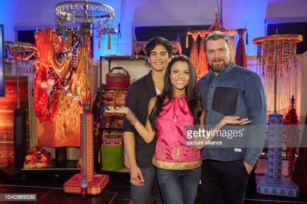 The musical leads Richard Salavodor Wolff Myrthes Monteiro and Enrico De Pieri pose during rehearsal for the musical 'Aladdin' at the Stage Theater...