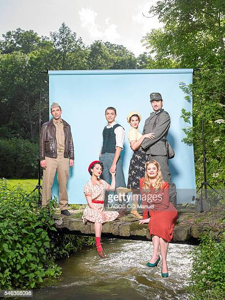 The Musical Troup with Tomislav Matosin Philippe Krier Barbara Pravi SarahLane Roberts Alice Raucoules and Nicolas Laurent pose for Paris Match on...