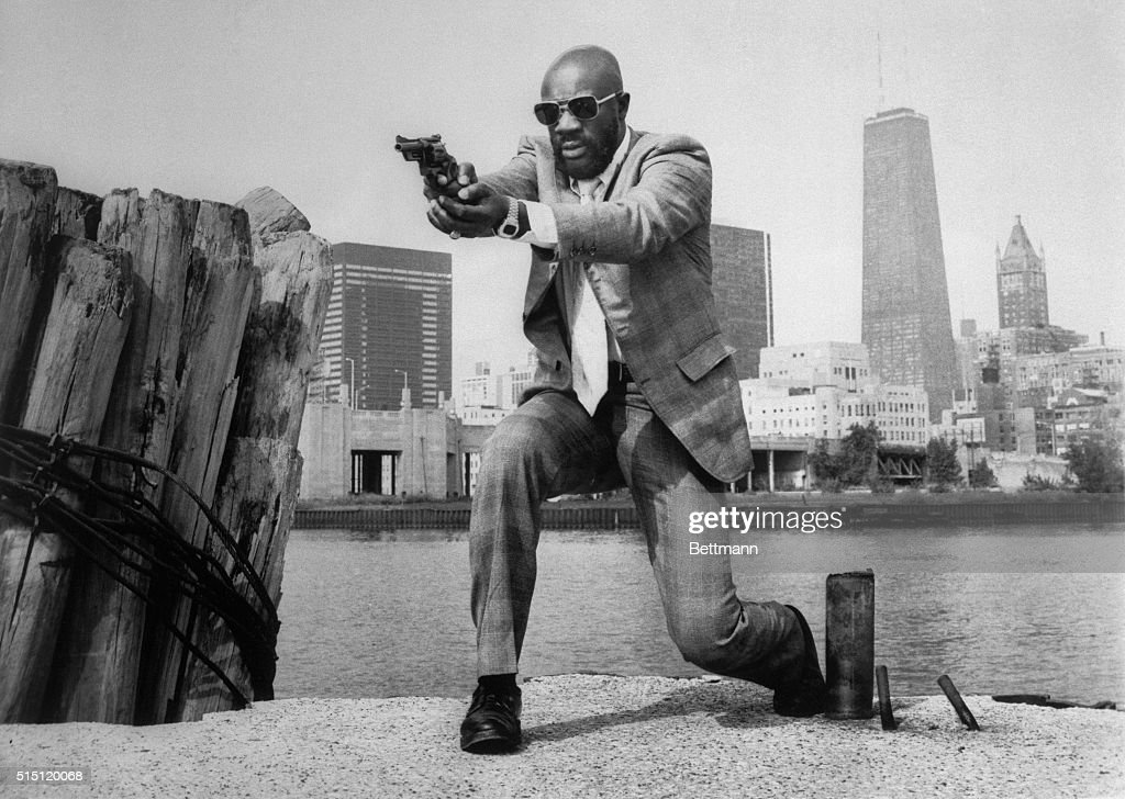 The musician, actor, DJ, Isaac Hayes is shown in this photo, in scenes from the movie Three Tough Days.