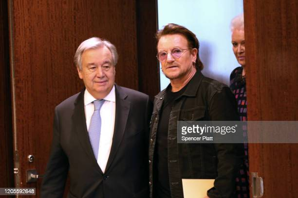 The musician and social activist Bono meets with António Guterres the SecretaryGeneral of the United Nations February 11 2020 in New York City Bono...