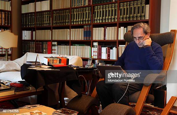 The musician Franco Battiato photo shooted at home Battiato is being interviewed by the TV host Daniele Bossari who wrote the book Battiato Io chi...