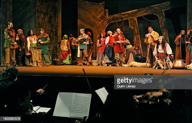 The musicians of the Mediterranean Philharmonic Orchestra and the choir of the Estudio Lirico Company perform during the press preview of Verdi's...