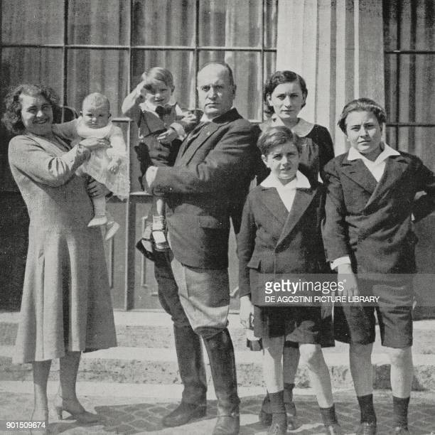 Rachele Guidi with daughter Anna Maria in her arms Benito Mussolini with son Romano in his arms Edda Bruno and Vittorio photo by Istituto Luce from...