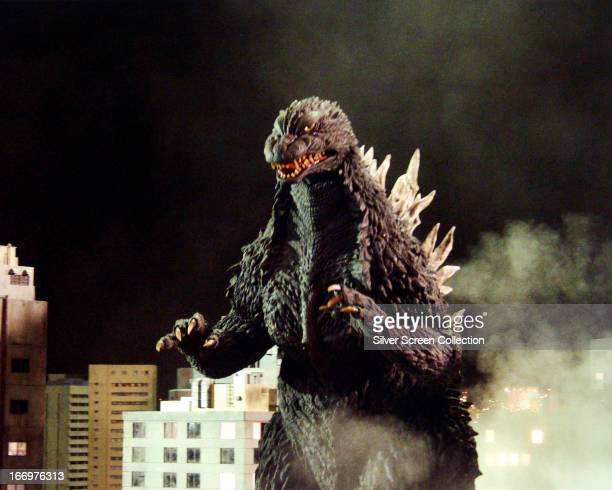 The mutant monster Godzilla ravages a Japanese city in 'Godzilla King of the Monsters' directed by Ishiro Honda and Terry O Morse 1956