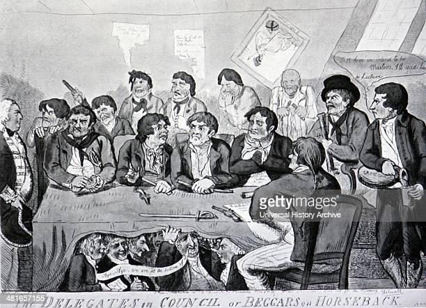 The mutiny at the Nore - a contemporary caricature - engraving from a drawing by Cruikshank, published 1797. The Spithead and Nore mutinies were two...