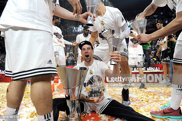 The MVP Andres Nocioni, #6 of Real Madrid celebrates after victory against Olympiacos Piraeus in the Turkish Airlines Euroleague Final Four Madrid...