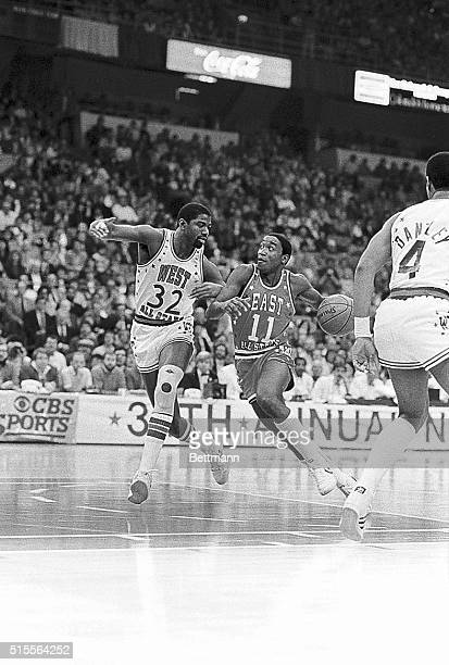 The MVP in the 34 NBA AllStar game Isiah Thomas of the East races downcourt besides the West's Magic Johnson as the East beat the West 154 to 145 in...