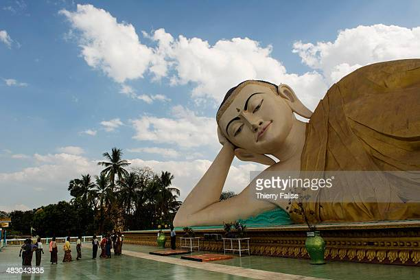 The Mya Thar Lyaung reclining Buddha measuring 82 meters was built in Bago in the early 2000s It's one of the rare giant Buddha statues located...
