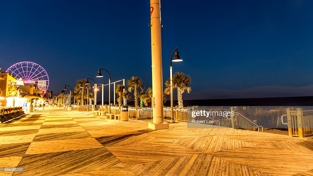 The Myrtle Beach Boardwalk At Night Stock Photo