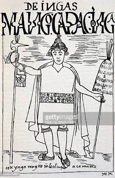 The mythical figure of Manco Capac the first Inca emperor and founder of the city of Cuzco engraving from The first new chronicle and good government...
