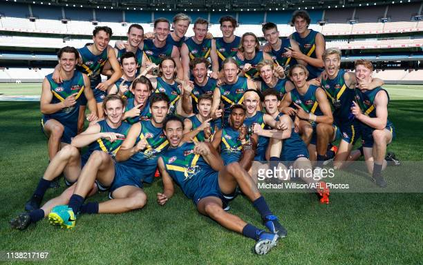 The NAB AFL Academy pose for a photograph during the NAB AFL Academy v Casey match at the MCG on April 20, 2019 in Melbourne, Australia.