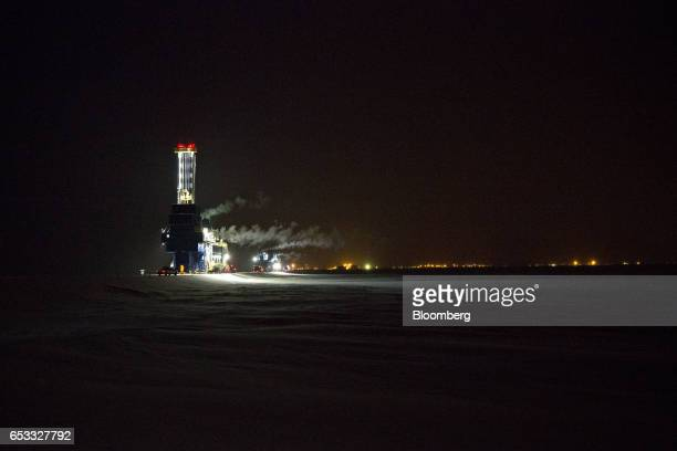 The Nabors Alaska Drilling Inc CDR2 AC oil drill rig is moved along a road in the North Slope in Prudhoe Bay Alaska US on Thursday Feb 16 2017 Four...