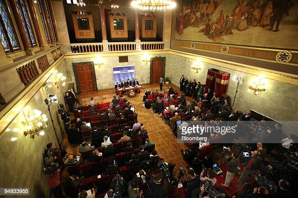 The Nabucco Gas Pipeline press conference underway following the meeting in Budapest Hungary on Tuesday Jan 27 2009The European Union may provide...