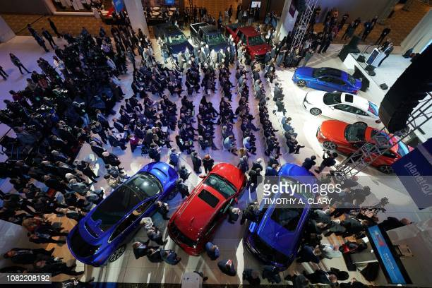 The NAIAS Car of the Year press conference is seen during day one of the 2019 The North American International Auto Show January 14 2019 at the Cobo...