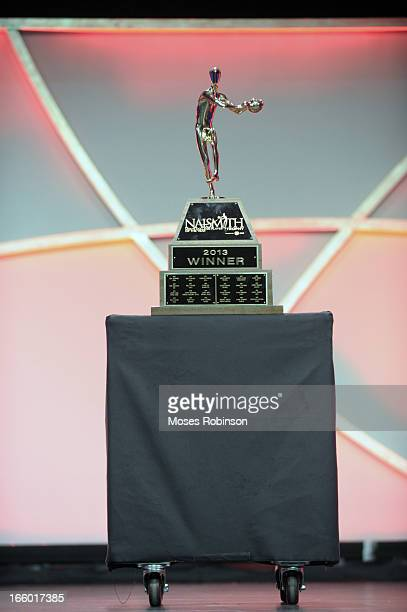 The Naismith Trophy is displayed at the Georgia World Congress Center during the NABC Guardians of the Game Awarding of the Naismith Trophy Presented...