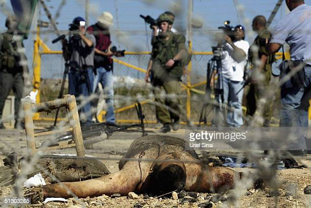 The naked body of a suicide bomber lays on the ground after he exploded himself near an Israeli Defence Force checkpoint September 14 2004 near the...