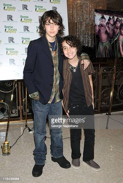 The Naked Brothers Band members Nat and Alex Wolff arrive at the Rainforest Foundation Fund's 'Some Kinda Legacy' benefit party on May 8 2008 at the...