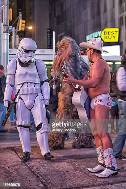CONTENT] The Naked Cowboy Chewbacca and a Storm Trooper meet in the middle of Times Square New York City