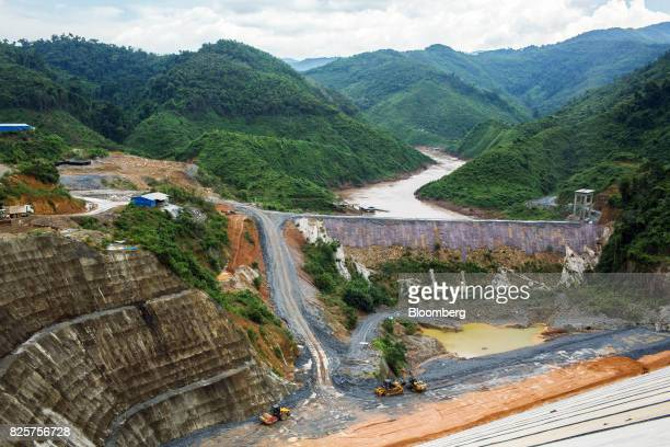 The Nam Tha 1 hydroelectric dam construction site being built by Power Construction Corp of China Ltd and to be operated by Chine Southern Power Grid...