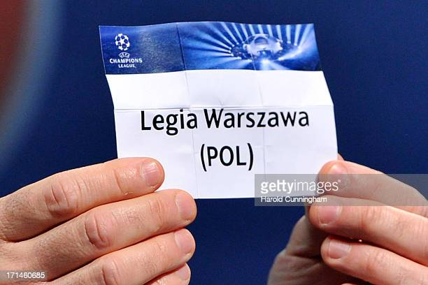 The name Legia Warszawa is seen during the UEFA Champions League Q2 qualifying round draw at the UEFA headquarters on June 24 2013 in Nyon Switzerland