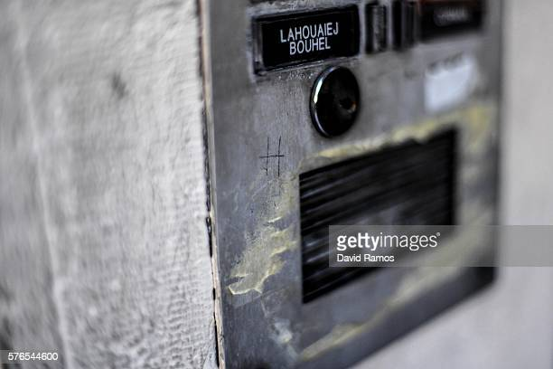 The name of Mohamed Lahouaiej Bouhlel is seen on the intercom of his apartment building on July 16 2016 in Nice France The FrenchTunisian attacker...