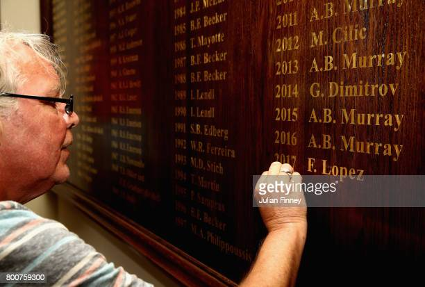The name of winner Feliciano Lopez of Spain is engraved following his victory in the mens singles final against Marin Cilic of Croatia during day...