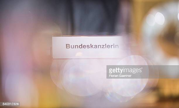 The nameplate for the german chancellor Merkel is captured before the weekly cabinet meeting at the chancellery on June 15 2016 in Berlin Germany