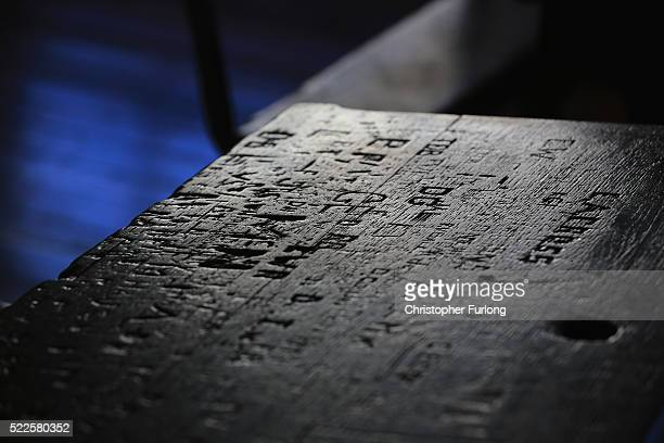 The names and initials of former students carved into the desks in the former schoolroom of William Shakespeare at King Edward VI School on April 20...