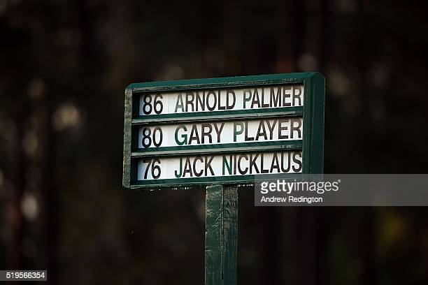 The names of honorary starters Jack Nicklaus, Arnold Palmer and Gary Player are displayed during the ceremonial tee off to start the first round of...