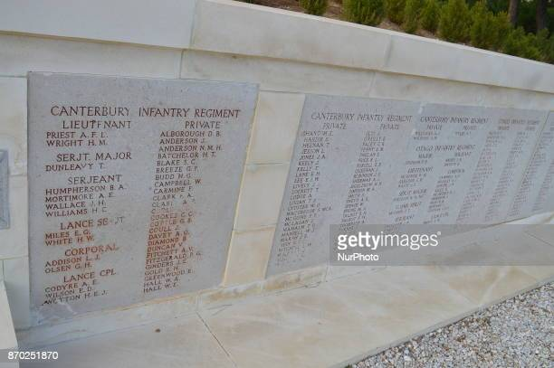The names of New Zealand soldiers are written on the tombs at Chunuk Bair on the Gallipoli peninsula in Canakkale Turkey on November 4 2017 ''Turkey...