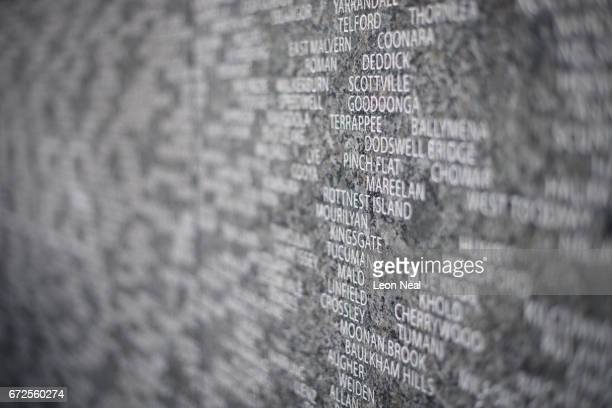 The names of the ANZAC soldiers killed during World War One are seen on the Australian War Memorial at Hyde Park Corner following the ANZAC Day dawn...