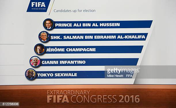 The names of the FIFA Presidential candidates are displayed on the screen inside the Hallenstadion prior to the Extraordinary FIFA Congress at...