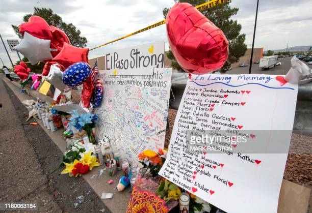 The names of the shooting victims adorn a makeshift memorial at the Cielo Vista Mall Walmart in El Paso, Texas, on August 6, 2019. - The August 3...