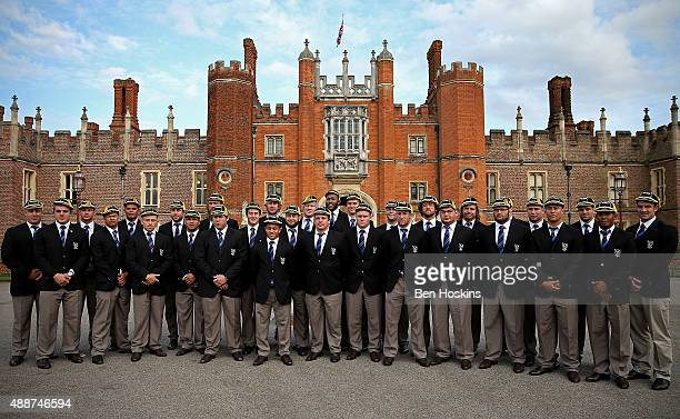 The Namibian team pose for a picture during the RWC 2015 Welcome Ceremony for Namibia at Hampton Court Palace on September 17 2015 in London England