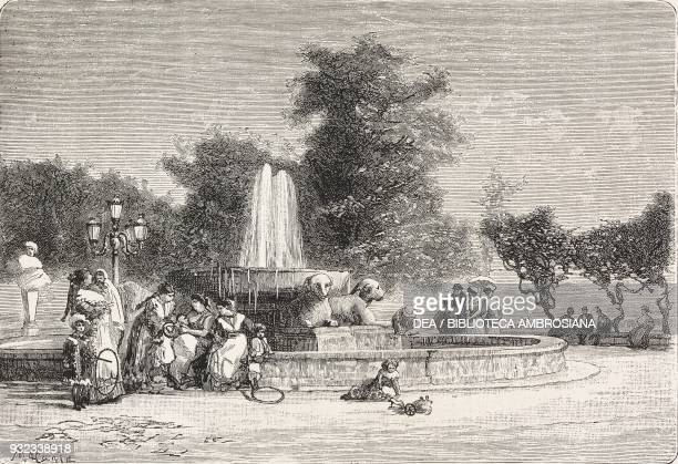 The nannies at the Fountain of the Cup of Porphyry or Fountain of Paparelle Naples Italy drawing by Antonio Matania engraving from L'Illustrazione...