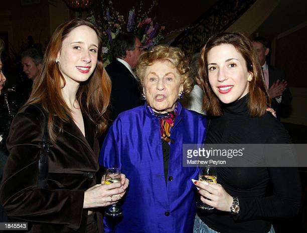 The Nannies Nicola Kraus and Emma McLaughlin pose with Bel Kaufman during Marymount Manhattan Writing Center Anniversary Party honoring writer Evan...