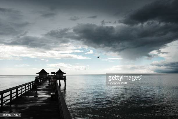 The Naples Pier stands in the evening light on September 7 2018 in Naples Florida Despite being largely clear of the red tide that has plagued the...