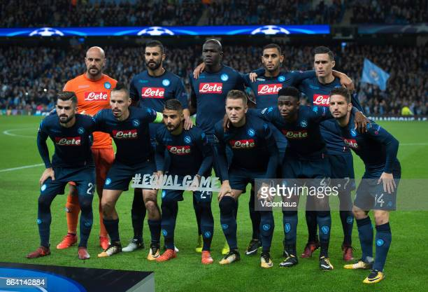 The Napoli team group before the UEFA Champions League group F match between Manchester City and SSC Napoli at Etihad Stadium on October 17 2017 in...