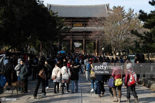 The Nara Park of Nara Prefecture in Japan full of crowd on February 18 2018 in Osaka Japan Many Chinese tourists choose to travel overseas during the...