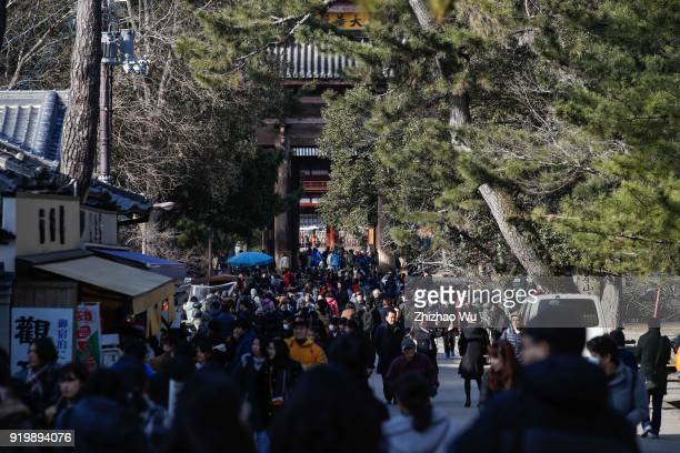 The Nara Park of Nara Prefecture on February 18 2018 in Osaka Japan Many Chinese tourists choose to travel overseas during the Chinese New Year...