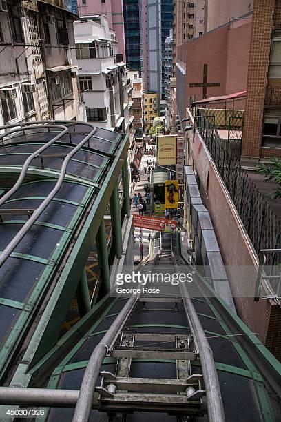 The narrow and steep Central Hong Kong escalators are viewed on May 27 in Hong Kong, China. Viewed as the world's third most important trade and...