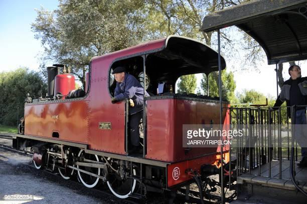 The narrow gauge Somme Bay Railway or Chemin de Fer de la Baie de Somme at the terminus town of Le Crotoy Baie de Somme and Cote d'Opale area Somme...