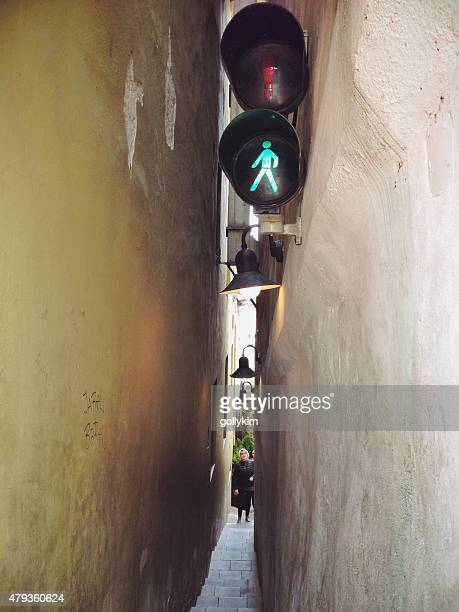 the narrowest street in prague - narrow stock pictures, royalty-free photos & images