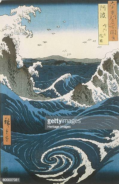 The Naruto whirlpools in Awa Province From the series Famous Views of the 60odd Provinces ca 1855 Private Collection Artist Hiroshige Utagawa