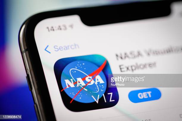 The NASA application is seen in the Apple App Store in this photo illustration taken in Warsaw, Poland on October 7, 2020. NASA has developed a...