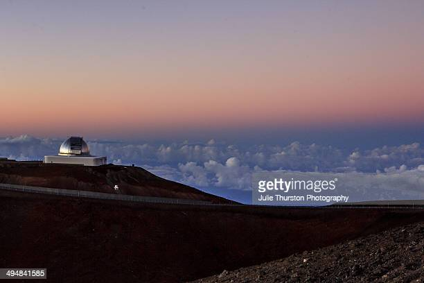 The NASA Infrared Telescope Facility at Sunset at the Mauna Kea Observatories Summit on the Big Island of Hawaii